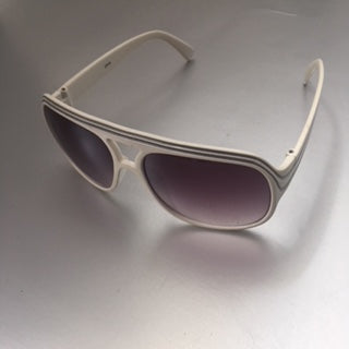 White Thick Aviator Sunglasses Vintage Accessory