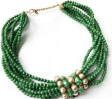 Green Glass Baroque Pearls Choker Necklace Vintage Jewelry