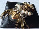 Rare Compact Mirror Amazing 3D Face Details Golden Silver Pearls Beaded Vintage Accessory