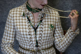 Allen Schwartz Houndstooth Golden Tan Skirt Jacket Suit