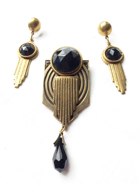 Jan Michaels San Francisco Jewelry Black Onyx Brass Vintage Set