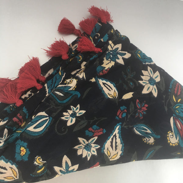 Blue and Floral Scarf Contemporary Accessory