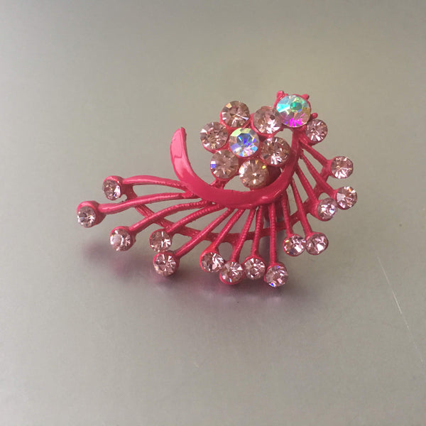 Pink Floral Peacock Cocktail Ring Unique Costume Jewelry