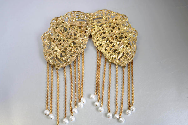 Massive Sculpted Golden Buckle Pearls Dangle Vintage Accessory
