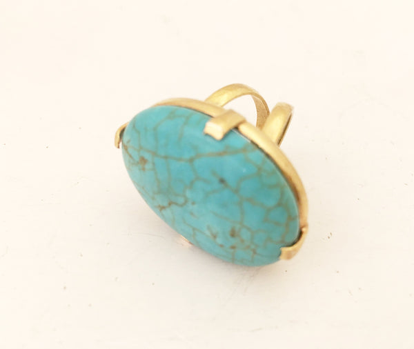 Turquoise Blue Cocktail Ring Bold Fashion Jewelry
