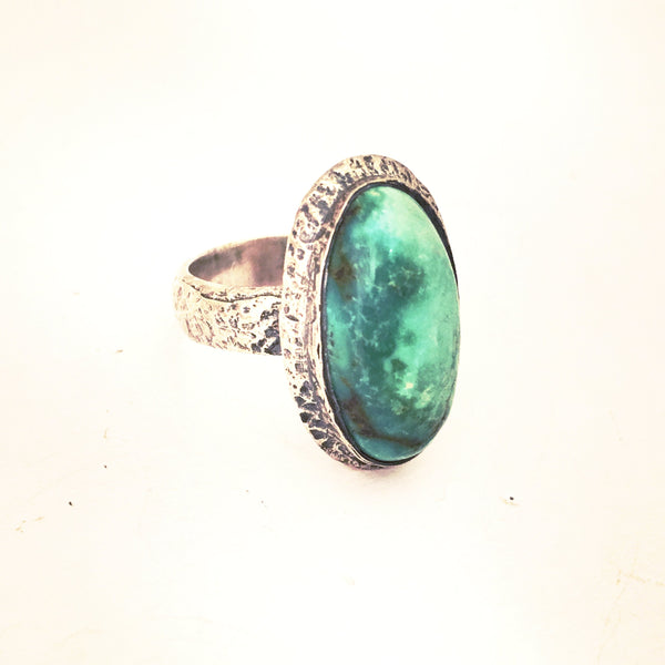 925 Sterling Silver Lime Green Turquoise Nugget Ring Jewelry
