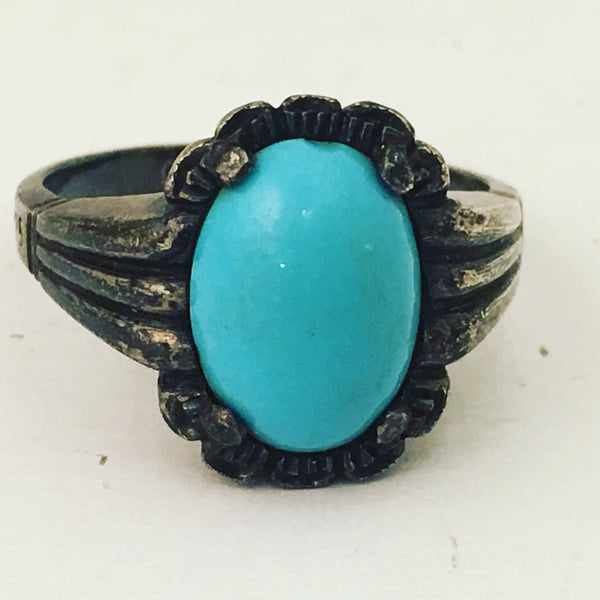 925 Sterling Silver Turquoise Blue Ring Vintage Jewelry