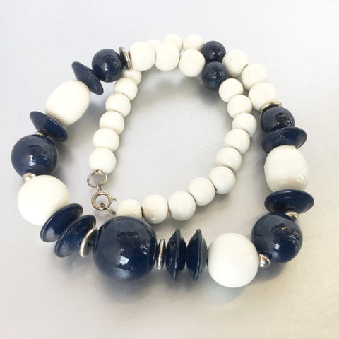Nautical White Navy Wooden Necklace Vintage Jewelry
