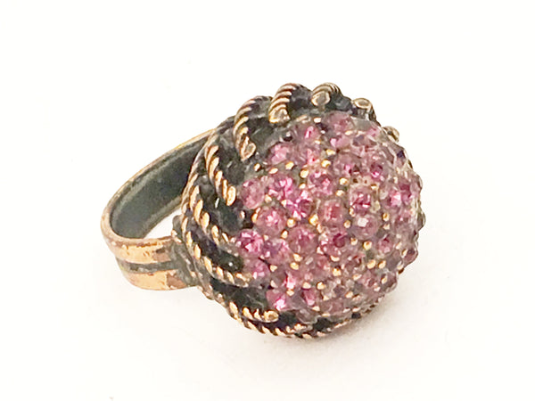 hollycraft vintage jewelry purple pink cocktail ring