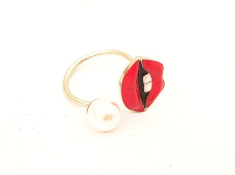 Pop Art Jewelry Red Lips Pearl Cocktail Ring Costume Jewelry