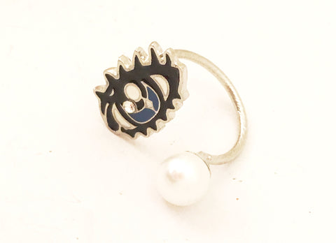 pop art jewelry blue eye pearl ring adjustable