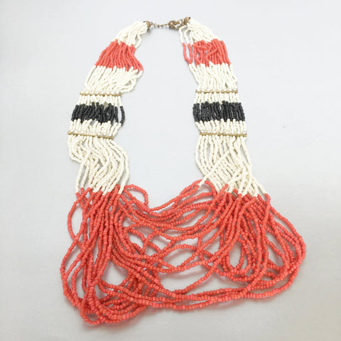 Black Red White Seed Beads Statement Necklace Vintage Jewelry
