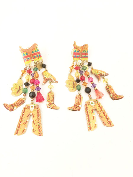 Watta Vintage Jewelry Wild West Cowboy Whimsical Earrings