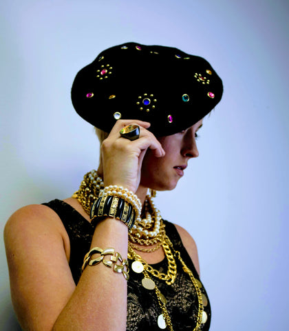 Iconic Jeweled Beret Hat Vintage Accessories