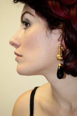 Fendi Black Gold Clip on Earrings Vintage Jewelry