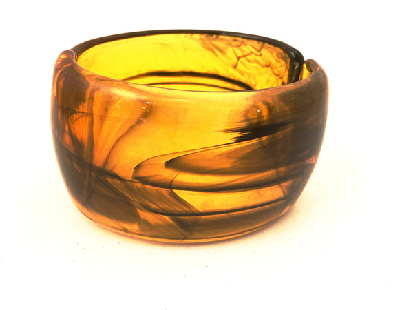 Plastic Vintage Jewelry Translucent Resin Cuff Bangle Hinged Bracelet