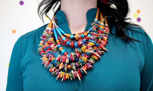 Colorful Wooden Beaded Necklace Bohemian Jewelry