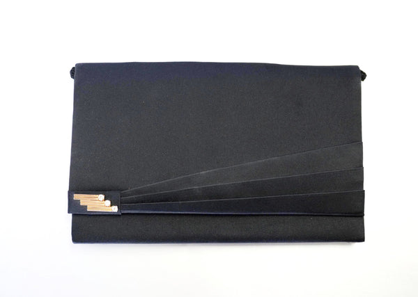 Art Deco Envelope Evening Bag Black Clutch Vintage Accessories