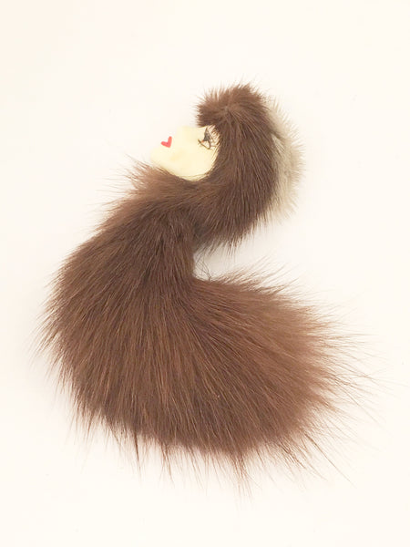 1950s vintage mink fur lady pin brooch figural jewelry