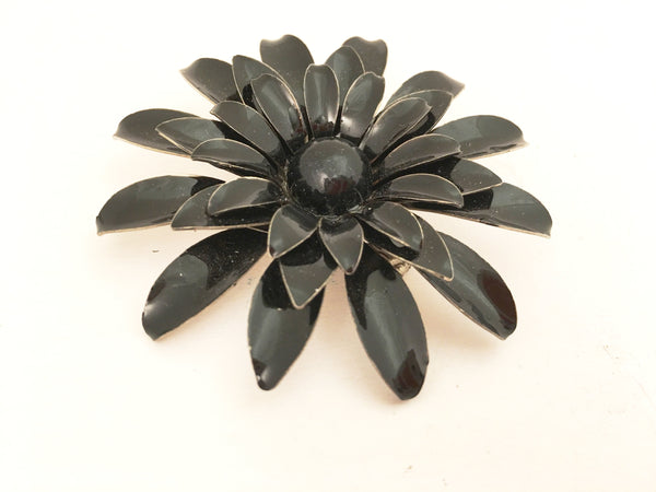 Floral Tin Pin Big Black Flower Power Brooch Vintage Jewelry