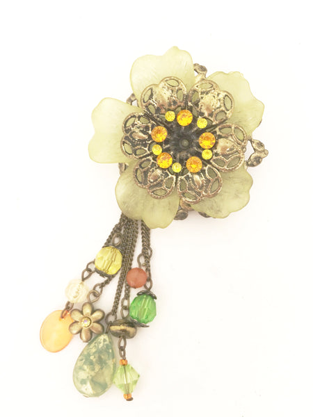 Floral Brooch Large Pin Vintage Plastic Jewelry