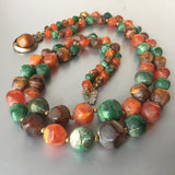 Orange Green Marbleized Beads Necklace Vintage Jewelry