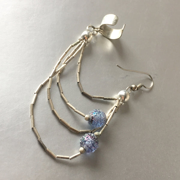Lilac Blue Blow Glass Link Ear Cuff Single Earrings Vintage Jewelry