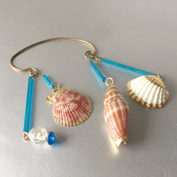 Sea Shells Blue Ear Cuff Single Earrings Vintage Jewelry