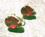 Miriam Haskell Vintage Jewelry Red Rhinestone Earrings