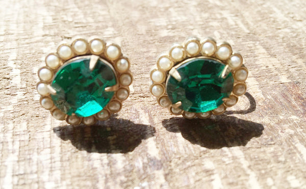 Emerald Green Rhinestone and Pearls Vintage Jewelry
