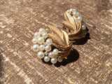 Trifari Pearls Floral Clip On Jewelry Vintage Costume Jewelry