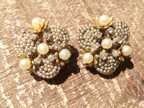 Miriam Haskell Vintage Jewelry Seed Pearls Clip on Earrings