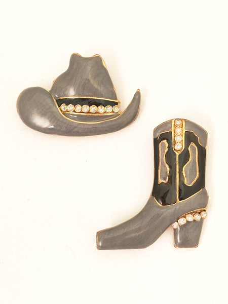 Cowboy Figural Jewelry Novelty Western Pin Set of 2 Brooches