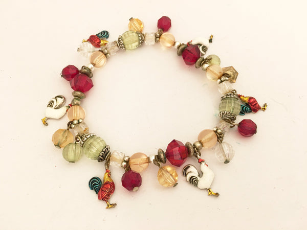 rooster beaded vintage bracelet cha cha pendant upper arm whimsical jewelry