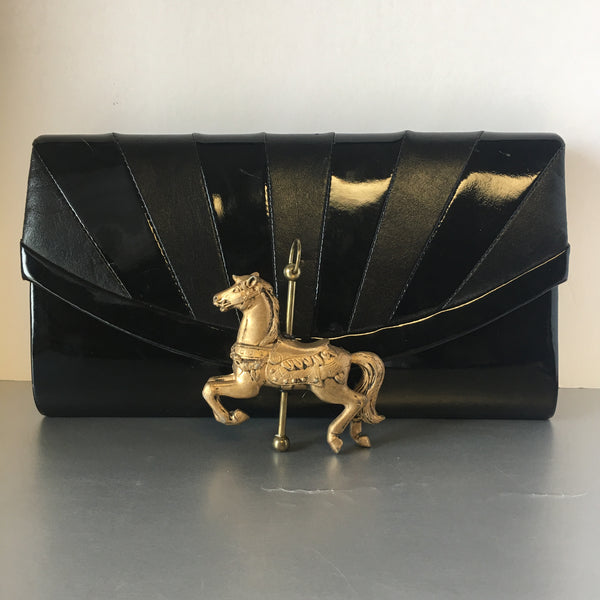 Black Patent Leather Envelope Clutch Bag Vintage Accessory