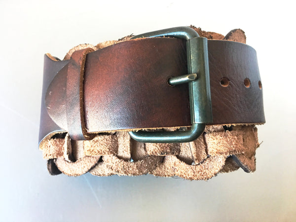Western Circle Woven Leather Belt Vintage Accessory