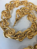 St. John Brushed Golden Metal Link Belt Vintage Accessory