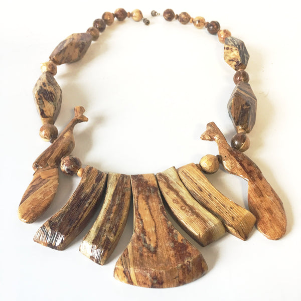 Hand Carved Wooden Peacock Necklace Vintage Jewelry