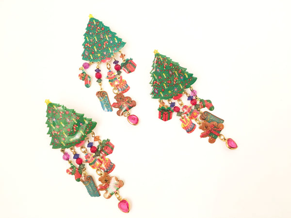 Watta Earrings Pin Brooch Set Christmas Tree Whimsical Vintage Jewelry