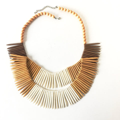 Indigenous Style Bib Statement Necklace Plastic Jewelry
