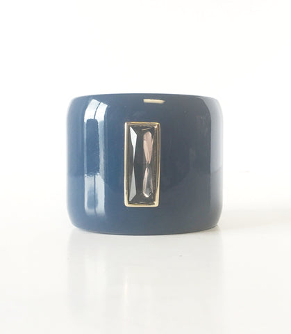Blue Wide Bangle Bracelet Vintage Plastic Jewelry ESPOSITO
