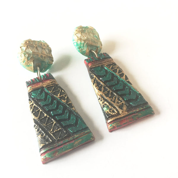 Arts & Crafts Colorful Earrings Vintage Costume Jewelry