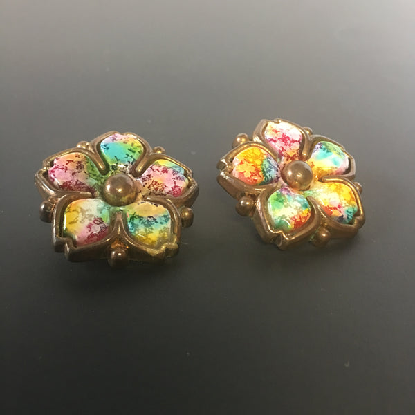 Colorful Floral Clip on Earrings Vintage Jewelry