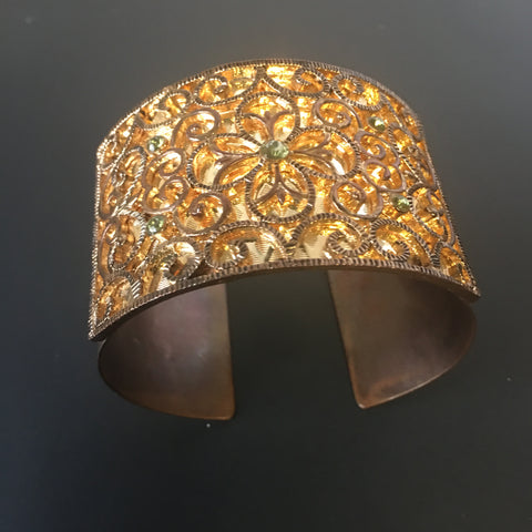 Raised Floral Design Cuff Bracelet Vintage Costume Jewelry