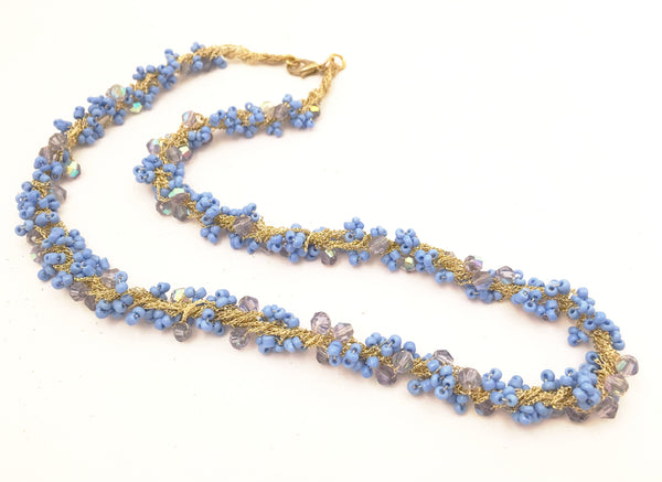 Blue Seed Beads Crystals Knitted Necklace Costume Jewelry