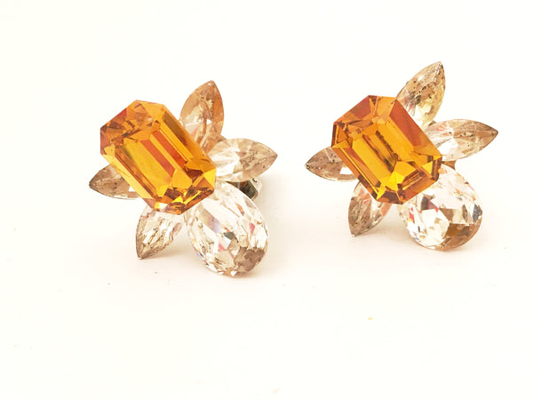 Citrine Yellow Clip on Earrings Vintage Costume Jewelry