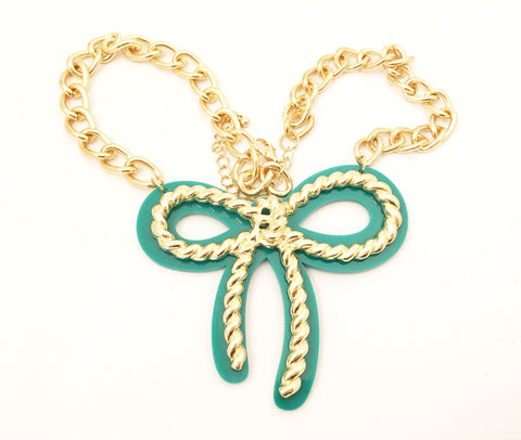 Teal Green Bow Golden Chain Pendant Necklace Pop Art Jewelry