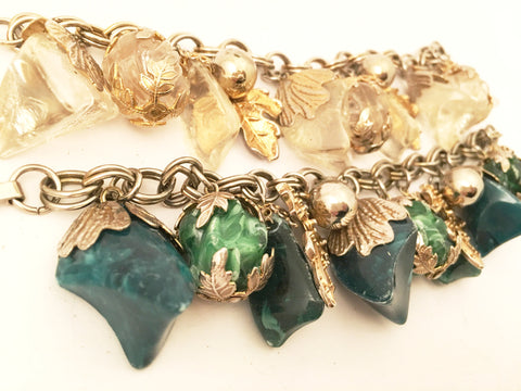 Fruits and Leaves Charms Link Bracelet Vintage Jewelry