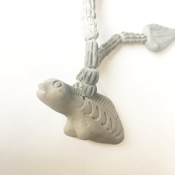 Clay Dinosaur Pendant Necklace Figural Handmade Jewelry
