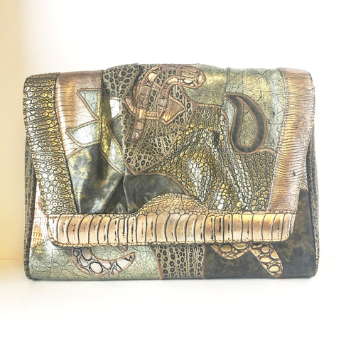 NAS Metallic Leather Wild Animals Handbag Vintage Accessory